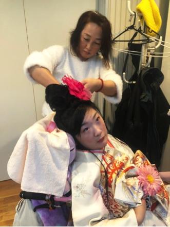 車椅子 和服 ファッション 着付師