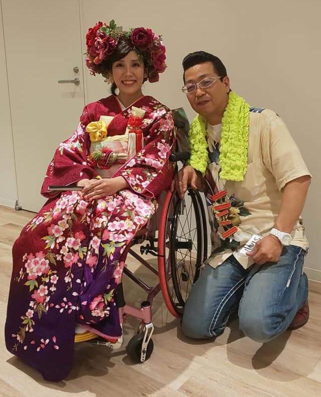 車椅子 和服 ファッション 写真